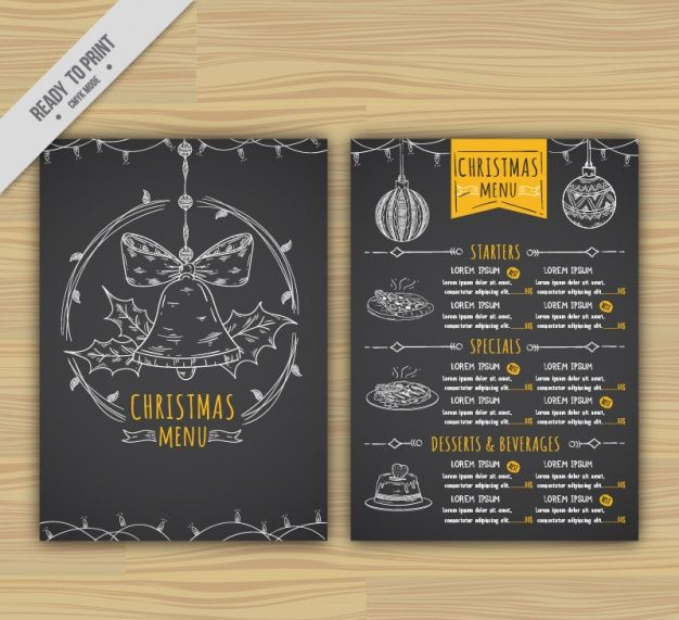 Black Christmas menu template free adobe Pinterest Menu - dinner menu templates free