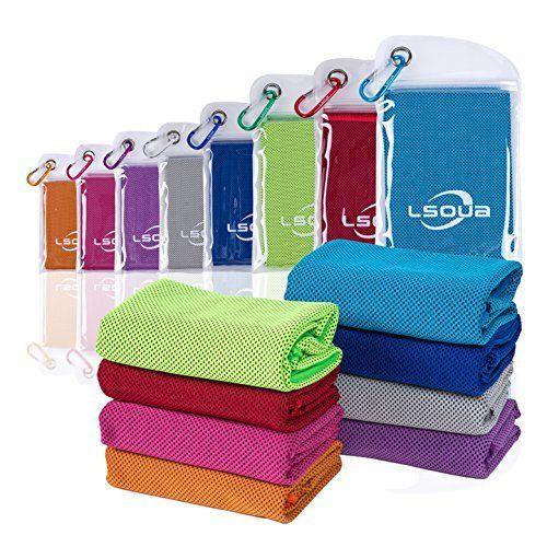 Alfamo 40 Inch Cooling Towel With Carabiner Waterproof Bag Dark