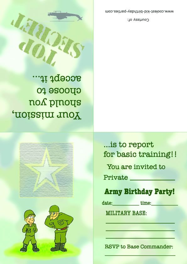Printable Army Foldable Invitation Coolest Free Printables