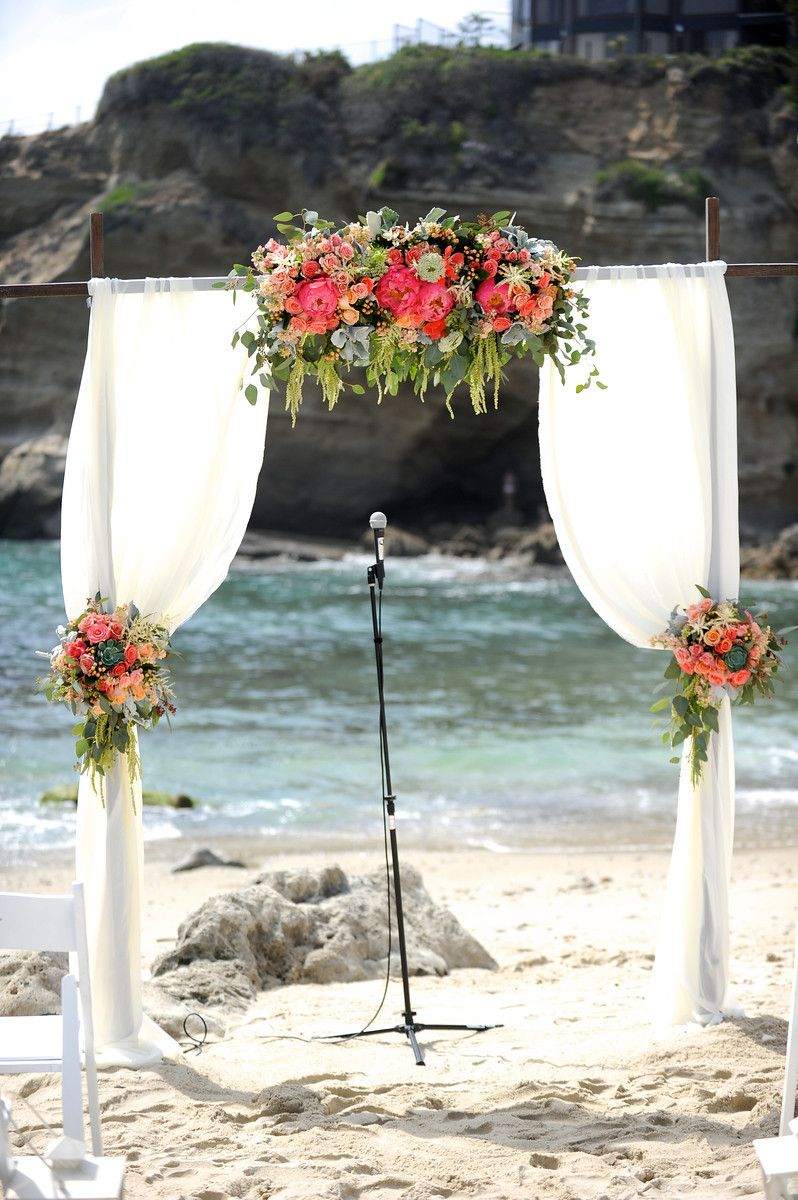 Wood Wedding Arch With Draping Fabric And Flowers Coral Peach