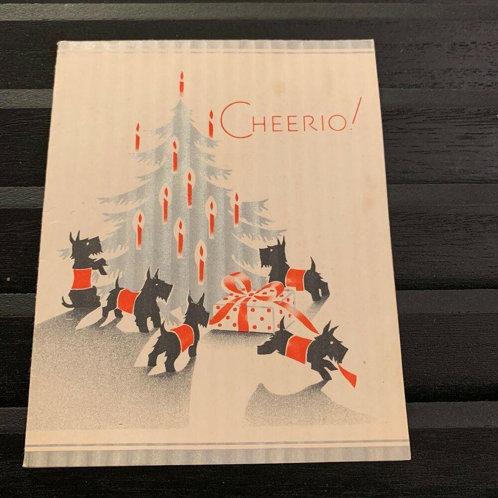 Vintage Greeting Card Christmas Scottie Dog Scottish Gift