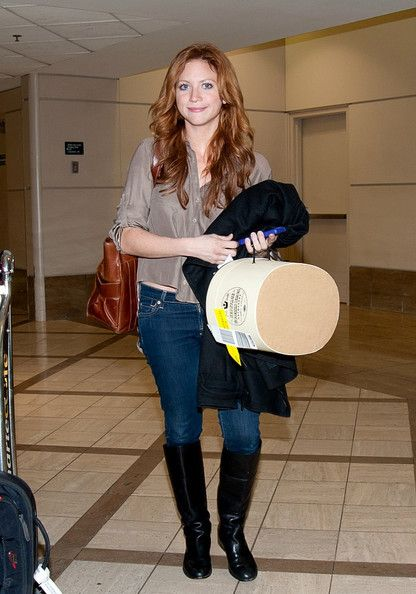 Brittany Snow Debuts Red Hair at LAX