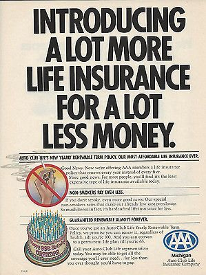 1982 Michigan Auto Club Aaa Life Insurance Original Print Magazine