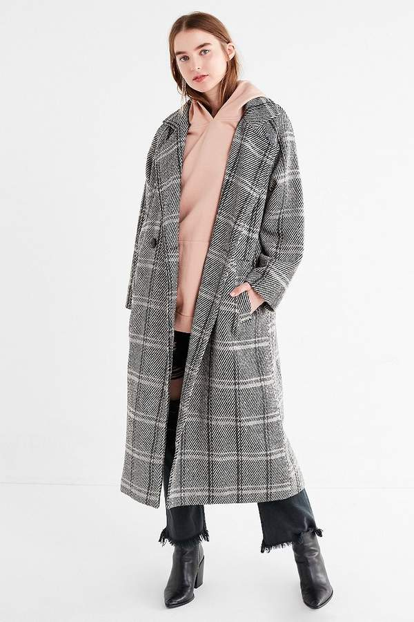 Newkelly Women Winter Casual Plaid Printed Button Jacket Outwear Coat Overcoat Outercoat