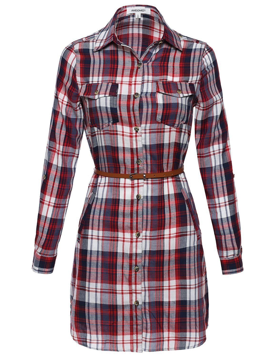 5ca92dc859 Goodj Women's Long Sleeve Button Down Plaid Dress w/Attached Belt AWDSD0644  Red Medium -- Awesome products selected by Anna Churchill