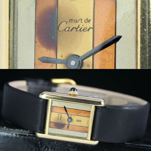 CARTIER Must De Tank Vermeil Winding Gold Plated Ladies Watch Uhren Montres | eBay