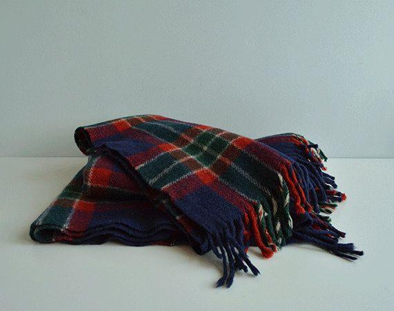 Vintage Wool Plaid Blanket / 1960s Plaid Woven Wool by zestvintage, $48.00
