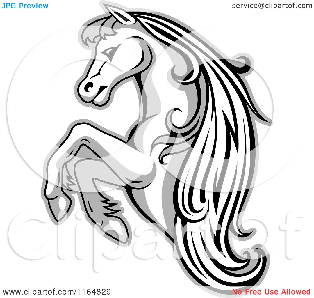 Rearing Horse Coloring Pages | Clipart of a Grayscale Rearing Horse ...