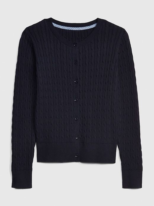 Kids Uniform Cable Knit Cardigan Sweater in 2019 | Knit