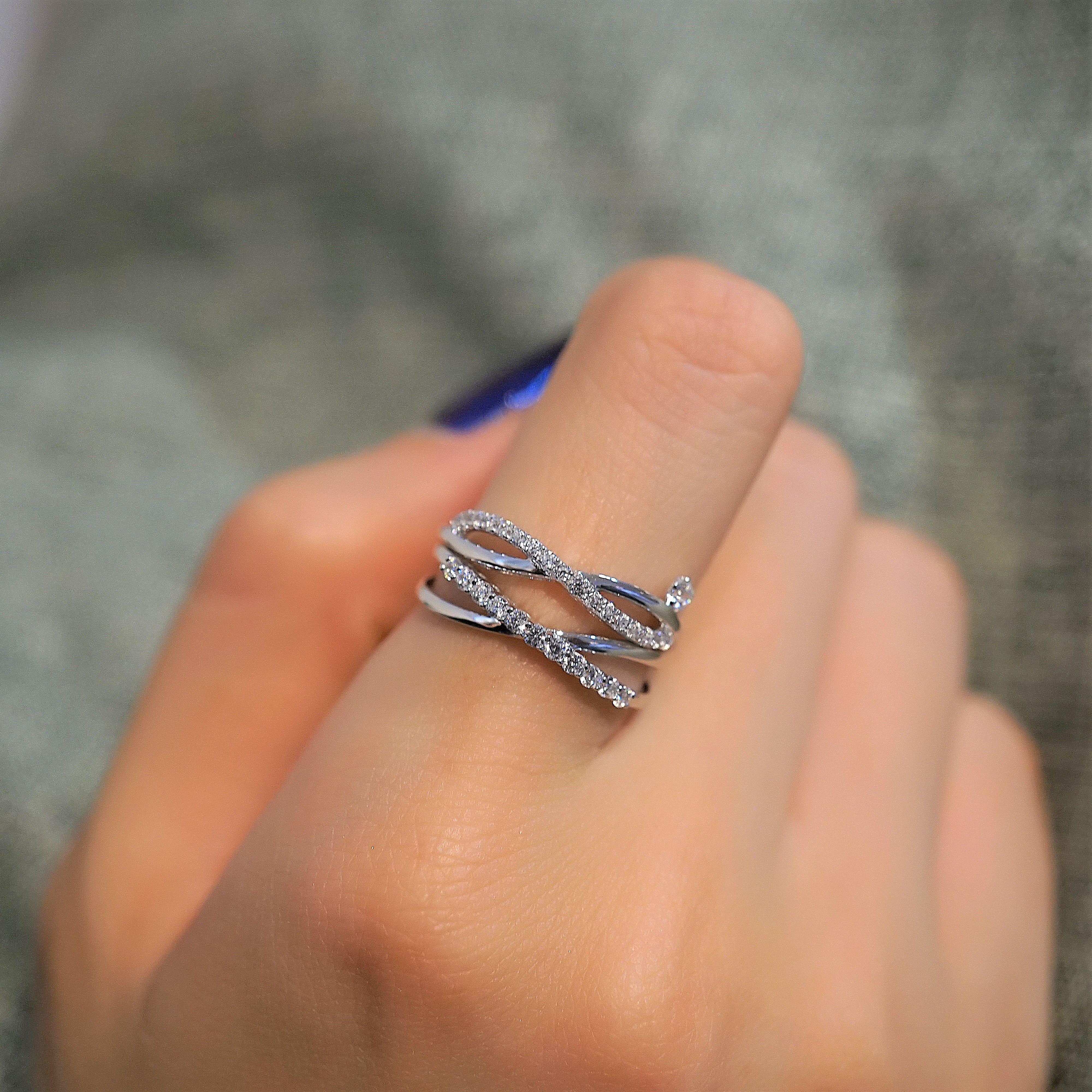 14k Gold X Ring / Criss Cross Ring / Wedding Gift / CZ