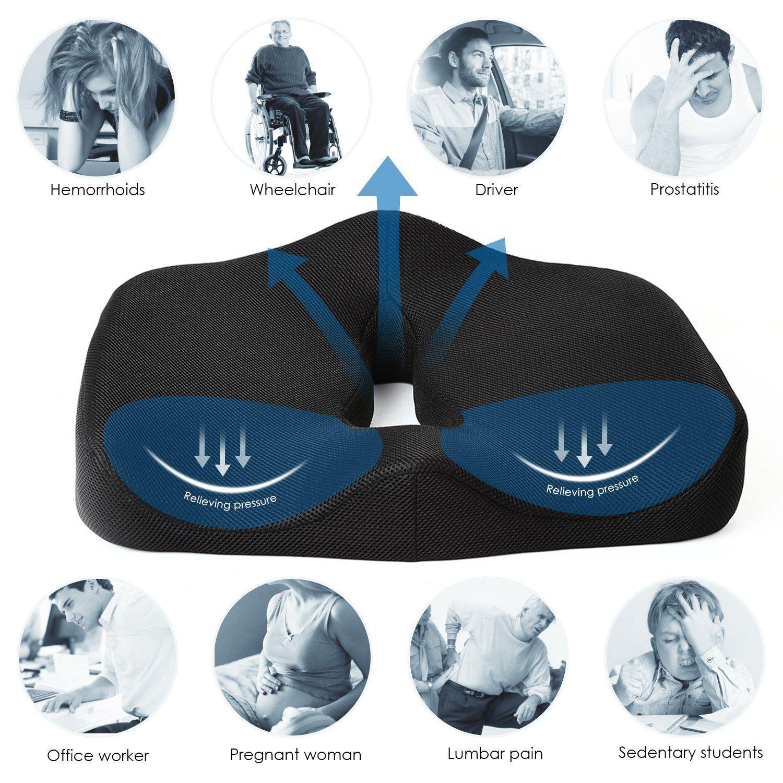 Amazon com black chair cushions - Amazon Com Naipo Seat Cushion Car Seat Cushion Memory Foam Seat Cushion