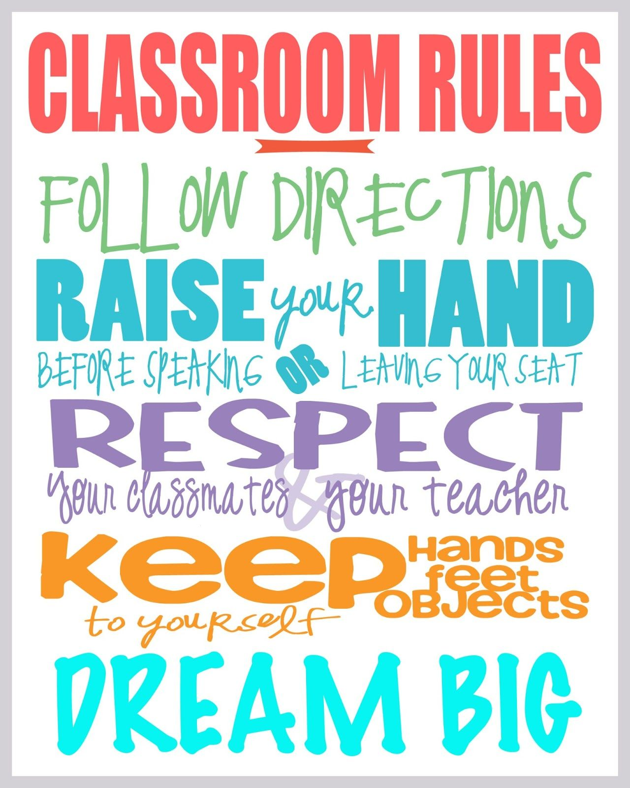 Class Rules Free Printable