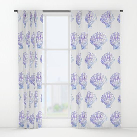 Purple Blue Ombre Seashell Window Curtains Mermaid Bedroom