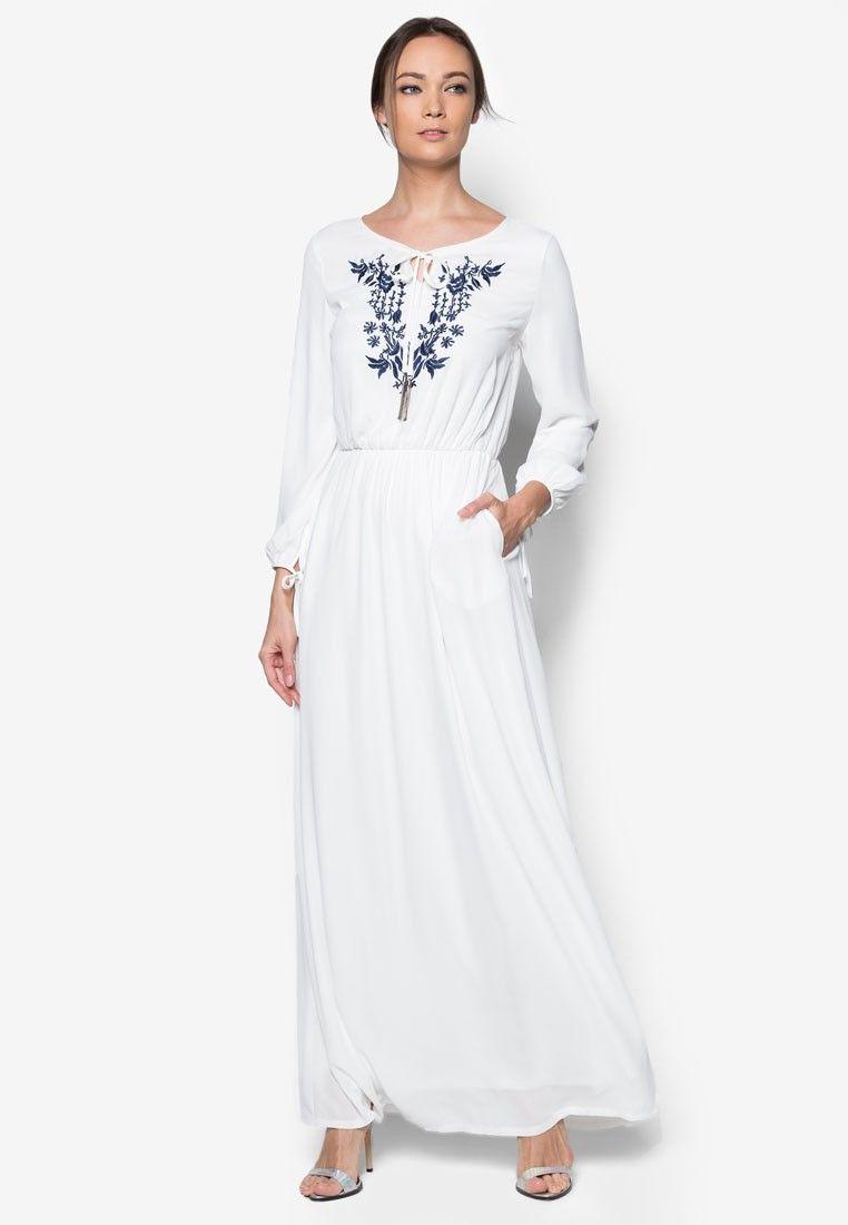 Buy Zalia Floral Embroidered Peasant Dress Online | ZALORA ...