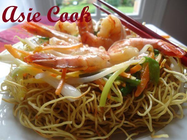 Recette Nid de nouilles aux crevettes, par Asiecook - Ptitchef