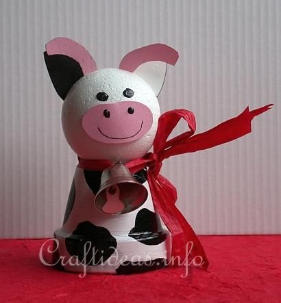 Spring Craft for Kids - Cute Clay Pot Cow