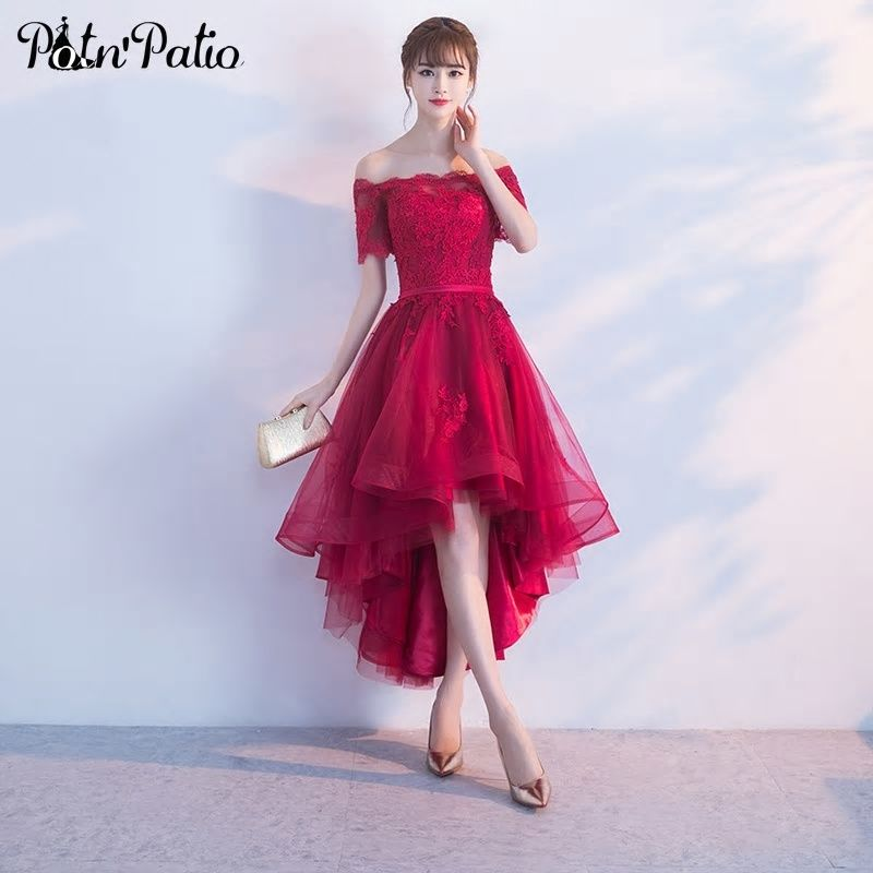 02eccb6653 PotN Patio Short Cap Sleeves Off Shoulder Prom Dresses Lace Appliques Tulle  Wine Red Prom Dresses High Low