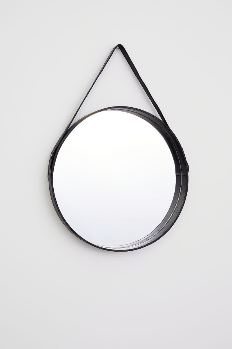 Leather Framed Round Mirror Black H M Home H M Us Runde