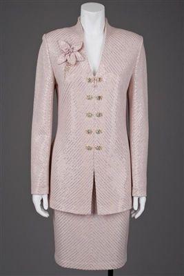 St John Knits Evening Rose Pink Jacket Skirt Brooch Earrings Suit 6