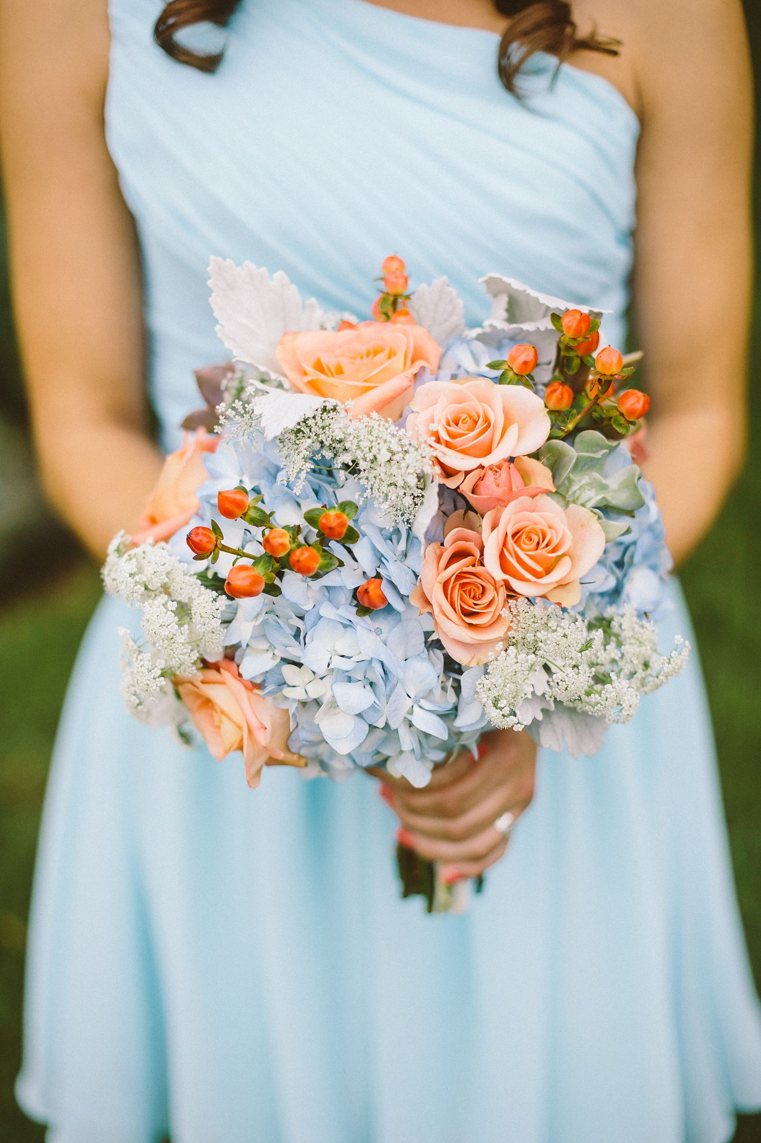 Light blue dress for wedding  Baby Blue Bridesmaids with Peach Flowers in Bouquet  by Preston