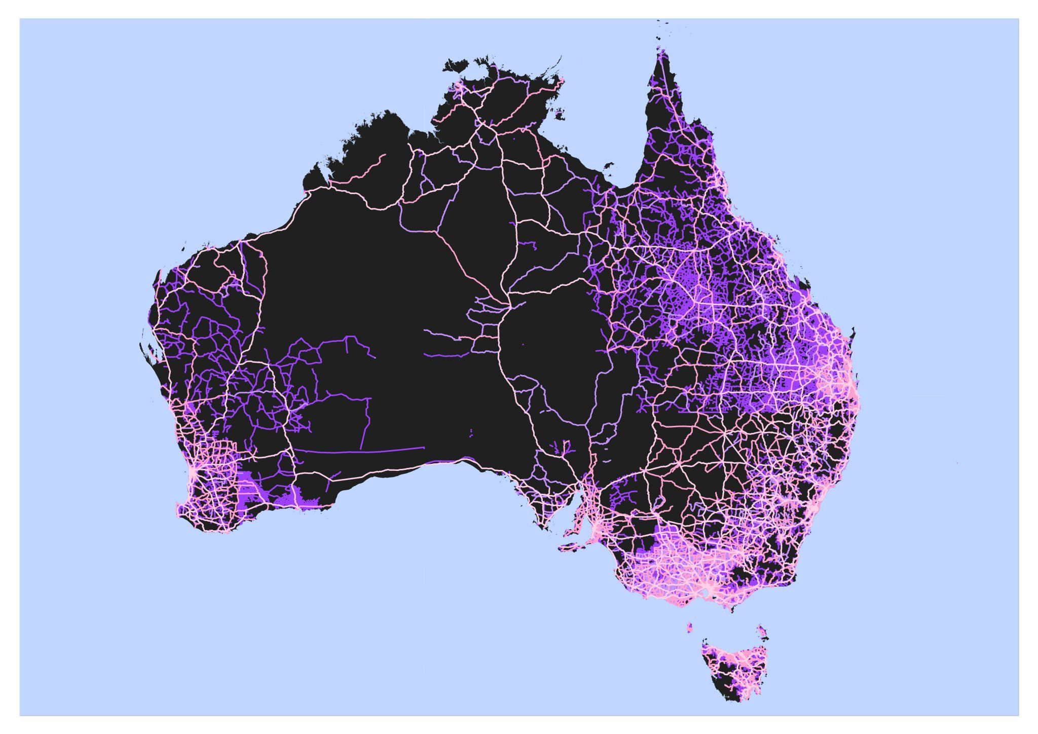 Road Map of Australia Freeways and Highways