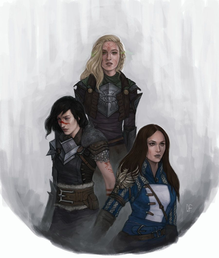 Reminds me of Nesryn, Aelin and Lysandra [ Heroes of Thedas by DancinFox.deviantart.com on @DeviantArt]