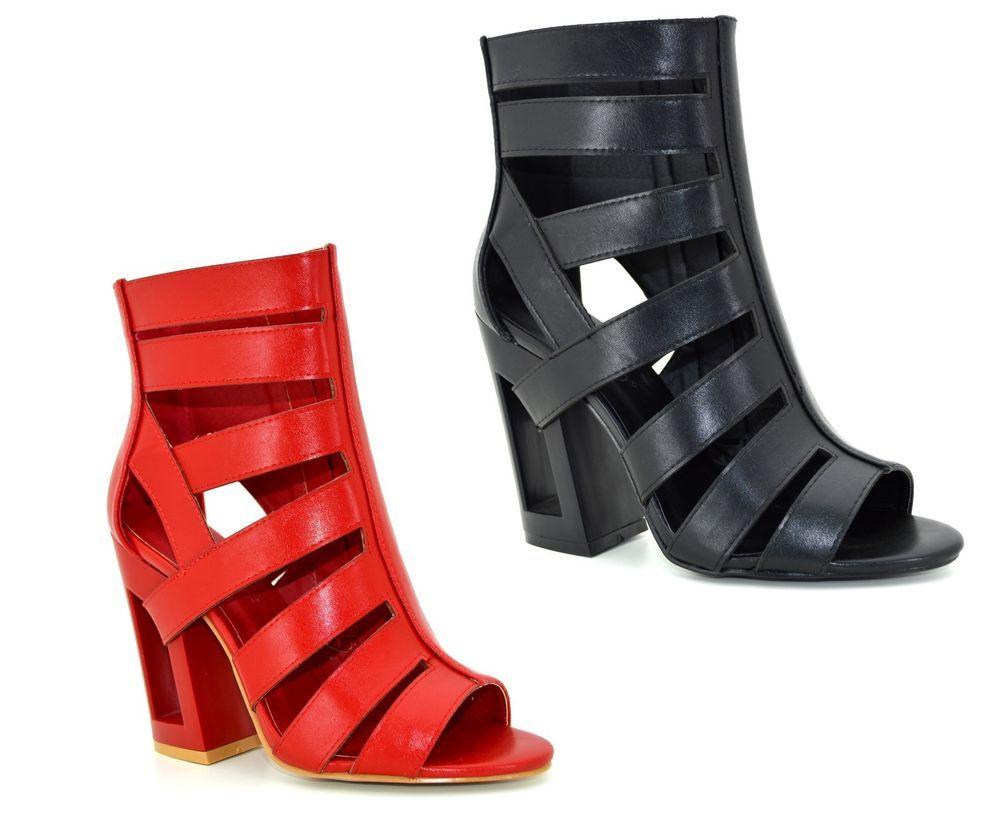 853733a25a4e Tronchetti donna aperti scarpe aperte in punta stivaletti con tacco largo  comodo