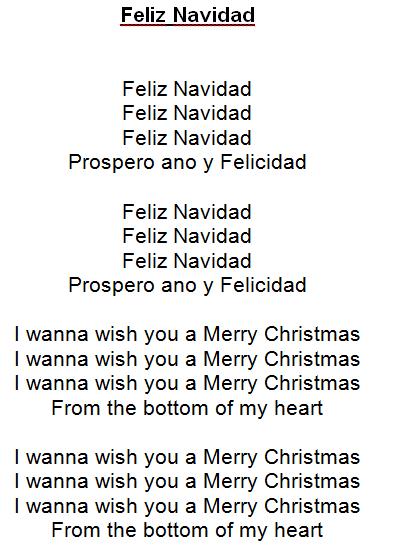 Feliz Navidad Tekst Christmas Carols Lyrics Feliz Navidad Carol Lyrics