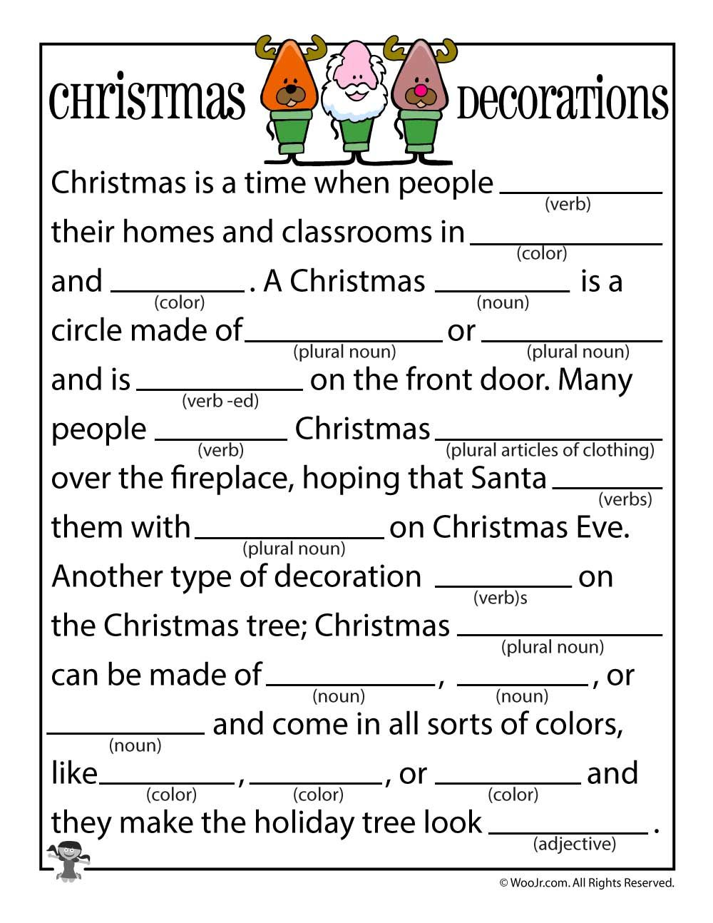 Christmas Decorations Mad Libs | Future References... Maybe ...