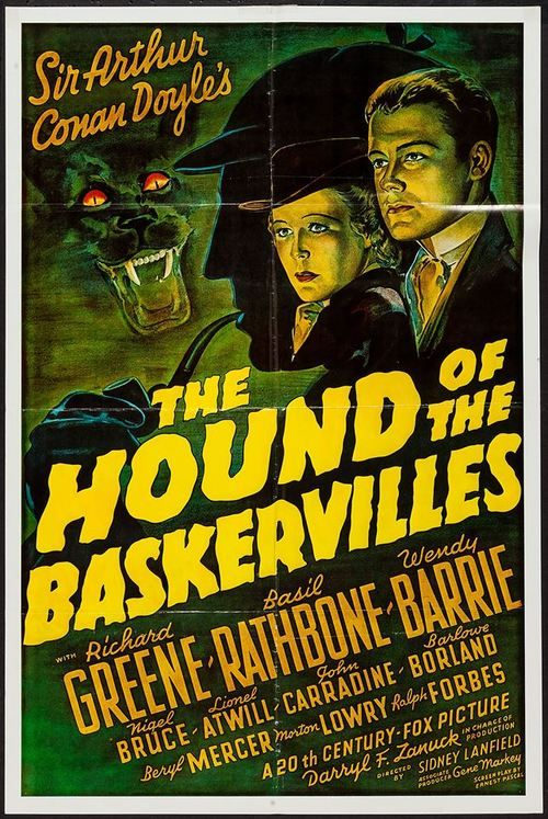 """Movie poster for """"The Hound of the Baskervilles"""" with Basil Rathbone as Sherlock Holmes, 1939"""