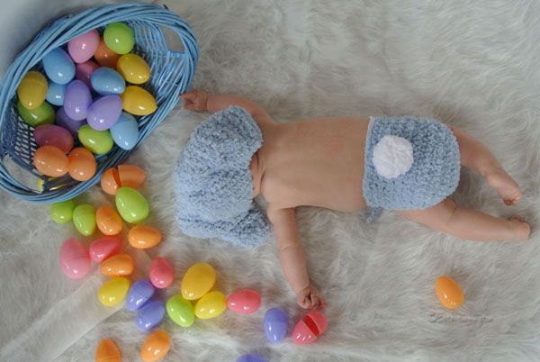 Easter baby photo idea. The adorable Easter bunny diaper cover and baby bunny hat set can be found at http://www.etsy.com/shop/BabaMoon