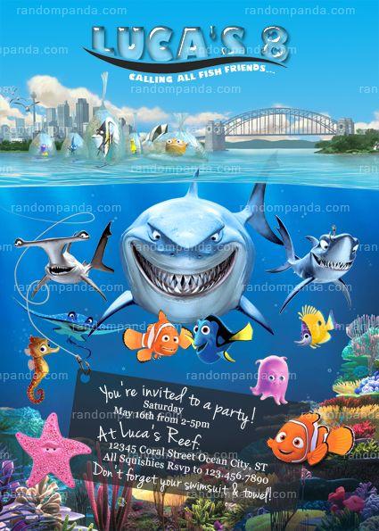 Finding Nemo Invitation, Shark Party, Dory Birthday Invite 2nd - birthday invitation wording for movie party