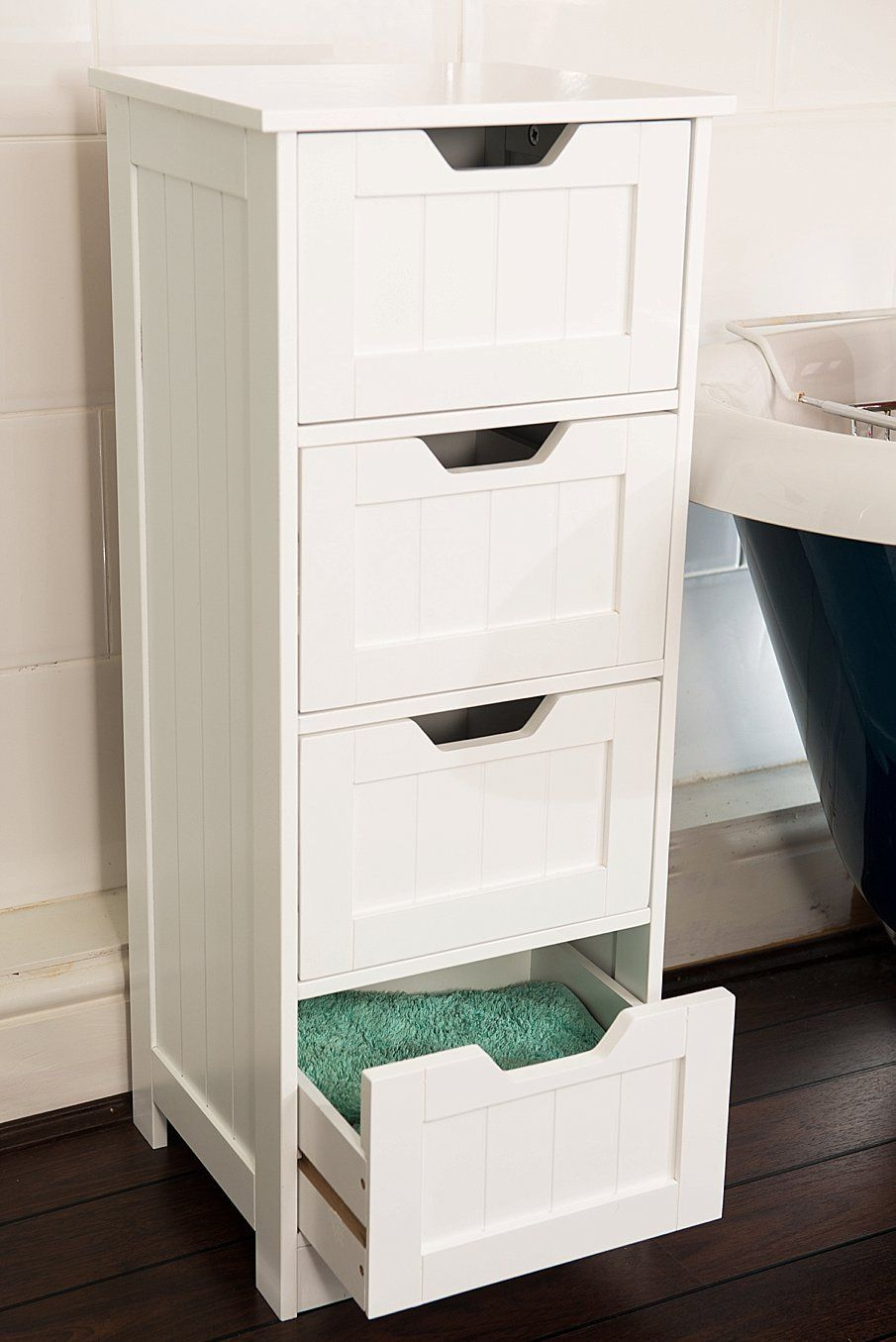 White Storage Cabinet. 4 Large Drawers. Bathroom Or ...