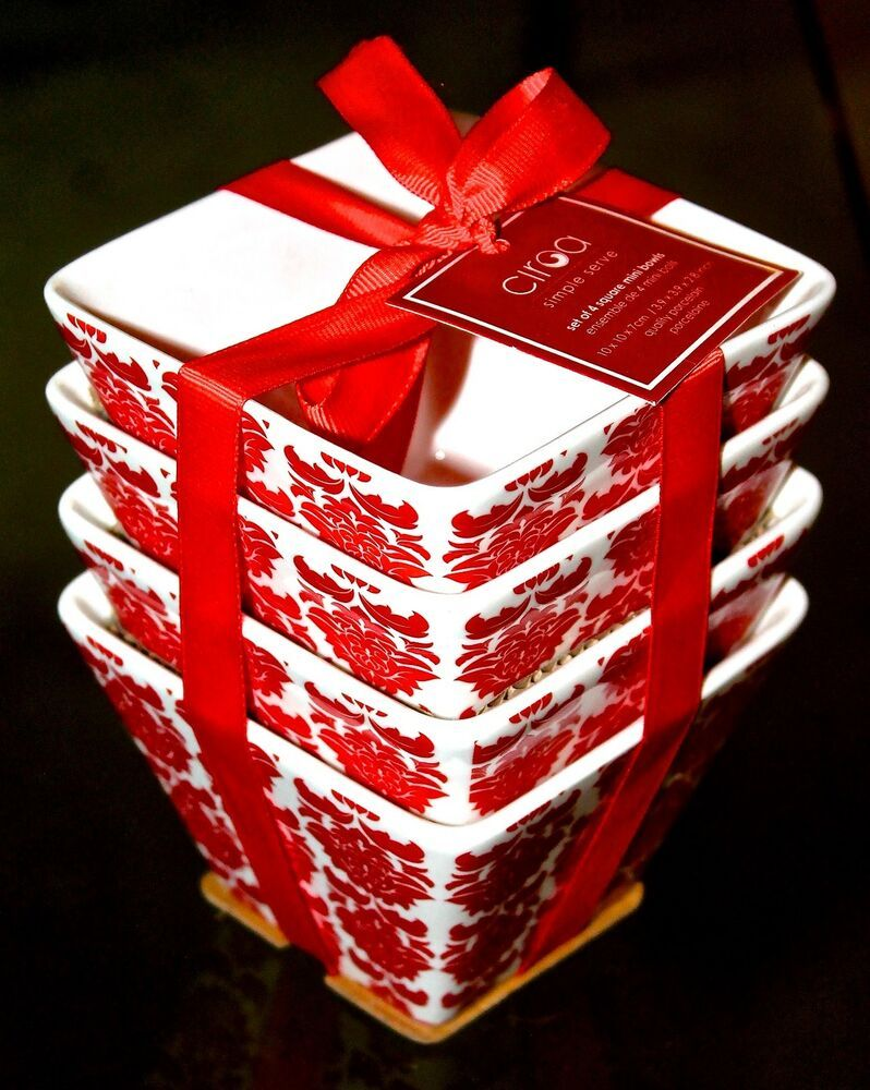 Ciroa Simple Serve Red Set 4 Square Mini Bowls Dessert White Porcelain New Ebay Mini Bowls White Bowls Holiday Entertaining