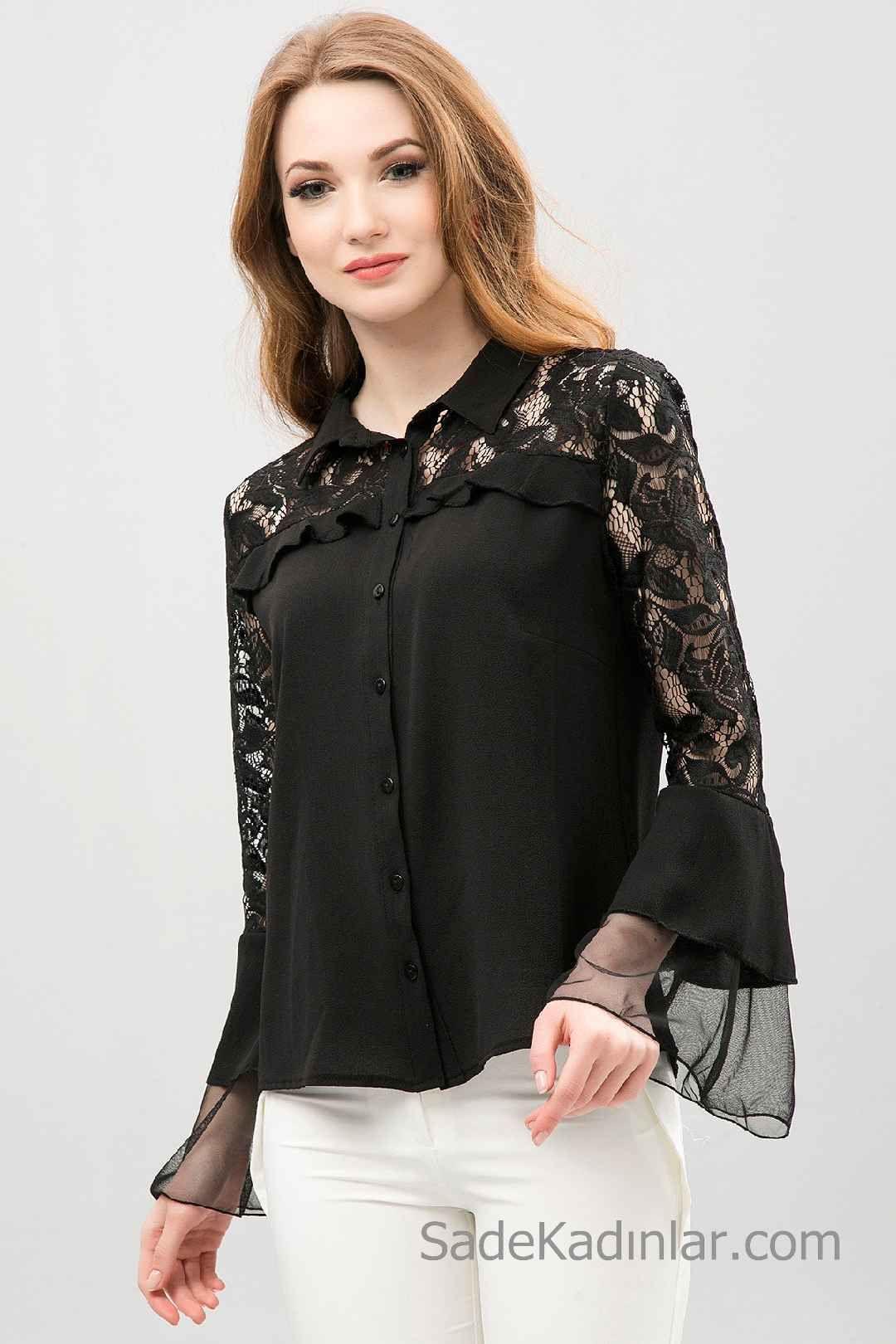 Siyah Gomlek Modelleri Uzun Ispanyol Kollu Dantel Yakali Dantel Bluzlar Moda Stilleri Kadin Kiyafetleri