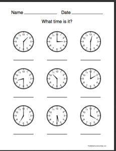 Time For Kindergarten Worksheets