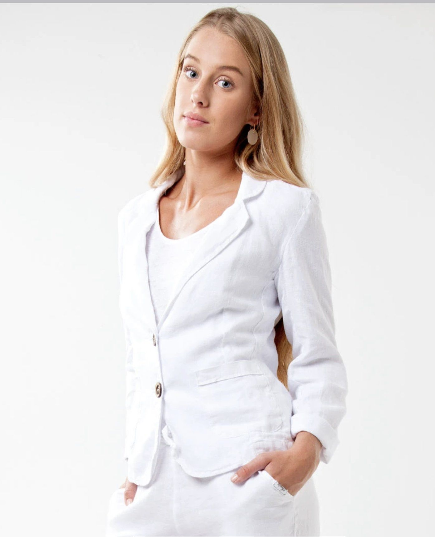 Photo of #8506 Linen Clothing 100% Natural Italian Style Blazer with Coco Buttons – M / White