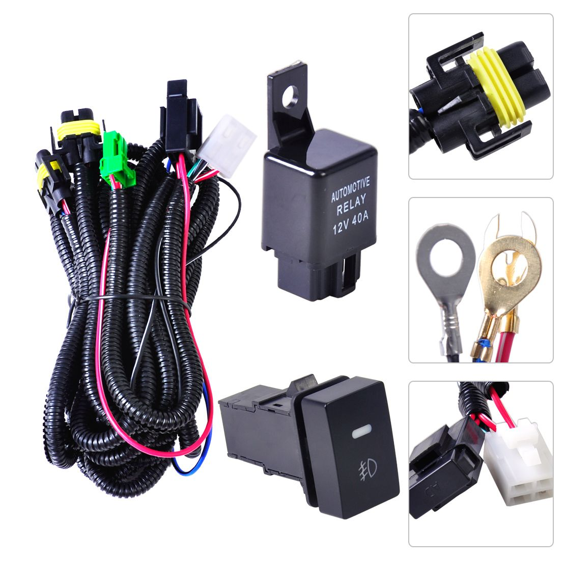 H11 Fog Light Lamp Wiring Harness Sockets Wire Switch With Led Indicators Automotive Relay For Ford Focus Acura Nissan Honda Ford Focus Acura Tsx Nissan