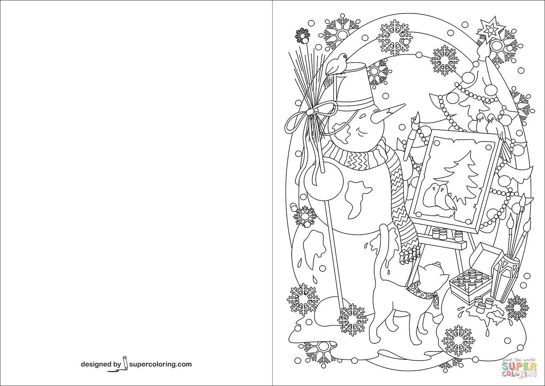 16 Printable Colouring Christmas Cards Christmas Coloring Cards Christmas Tree Painting Christmas Cards