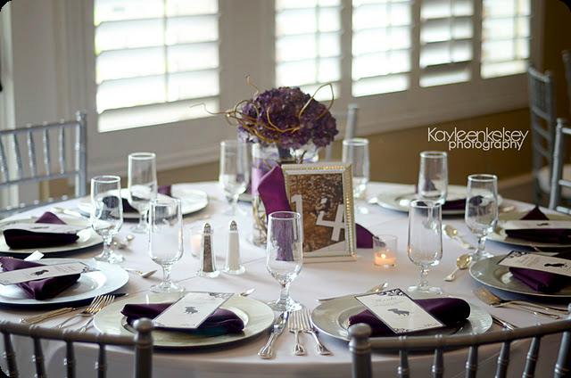 Silver Chiavari Chairs, Purple wedding centerpieces, In Bloom Florist, A Chair Affair Blog