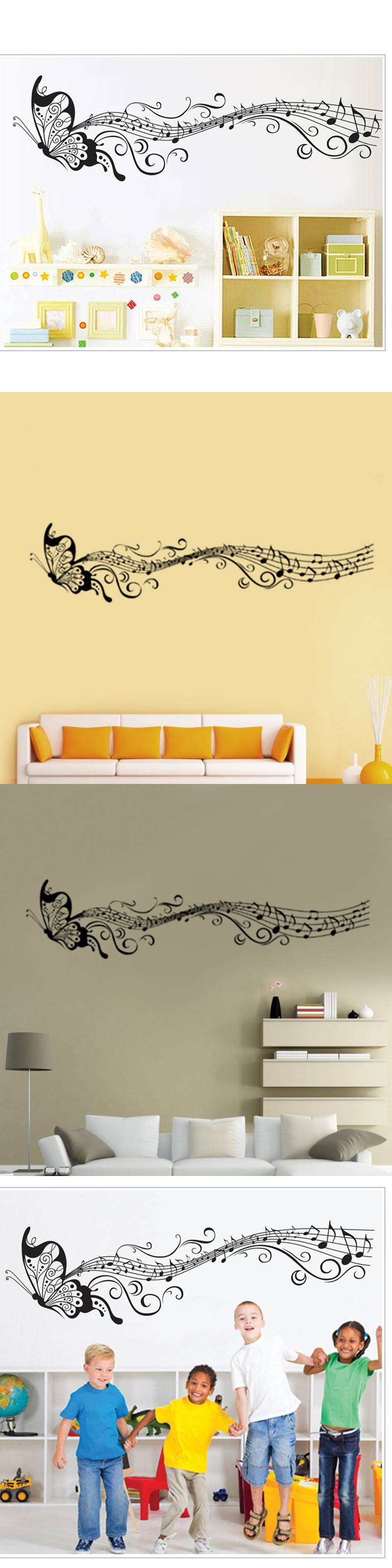 Butterfly&Music Note Newest Wall Sticker Decal Simple Wallpaper ...