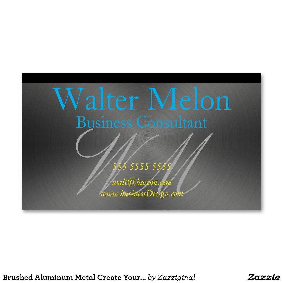 Brushed Aluminum Metal Create Your Own Consultant Business Card ...