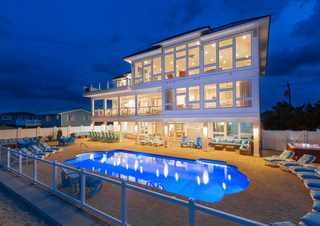 All Blue Horizon Is A Sandbridge Oceanfront Vacation Rental That Sleeps 36 Contact S Virginia Beach Houses Oceanfront Vacation Rentals Beach House Rental