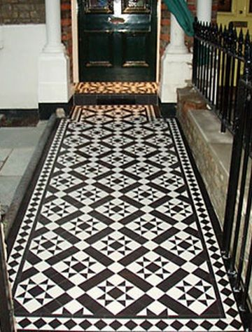 Monochrome victorian tiles often seen in pathways outdoors for Edwardian tiles for porch