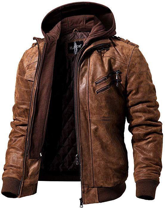 FLAVOUR Genuine Leather Jacket Herren Abnehmbarer Hoodie (XS