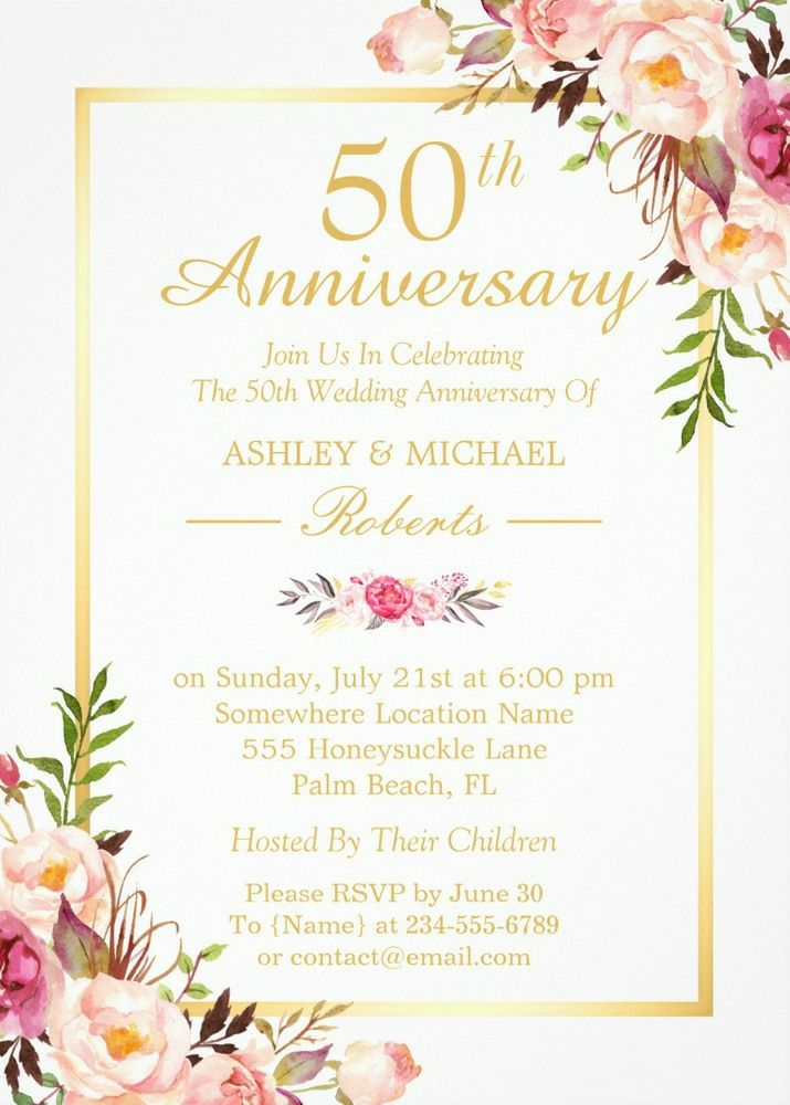 50th Wedding Anniversary Elegant Chic Gold Floral Card | Elegant ...