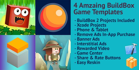 nice four Awesome BuildBox Game Templates (Bundle 1): iOS Quick Reskin AdMob &amp Chartboost Advertisements &amp IAP (Games)