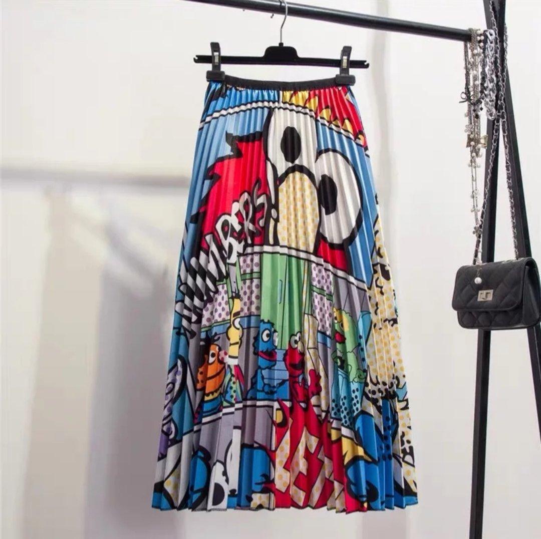 Casual Elmo Sesame Street Character High Waist Pleated Maxi Skirt Medium New