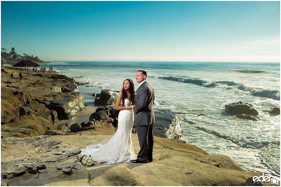 Bride And Groom Photos In La Jolla Windansea Beach Wedding