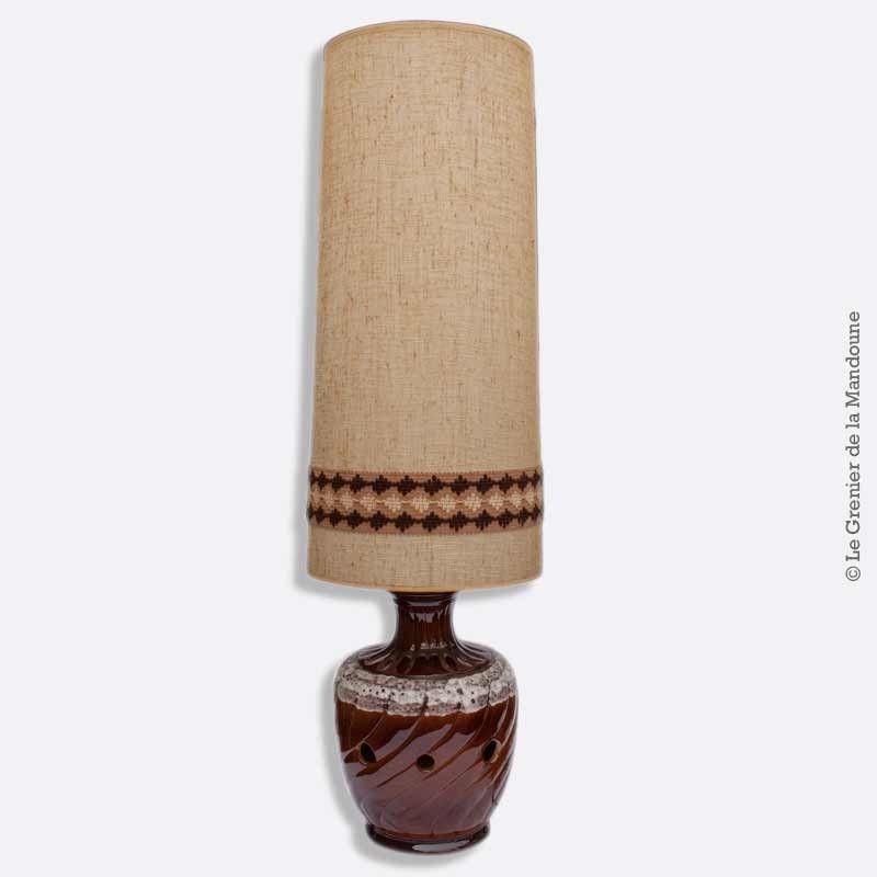 Tr s grande lampe vintage ann es 70 pied en c ramique et - Abat jour pour lampe de sol ...